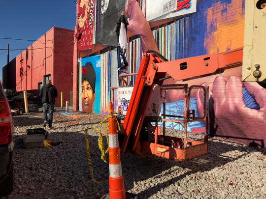 A look at the cherry picker that artist Richard Wilson said an alleged thief stole tubs on spray paint from. He discovered his mural featuring Aretha Franklin on the rear of Gratiot Central Market damaged on Sept. 29, 2018.