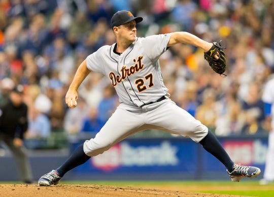 Detroit Tigers pitcher Jordan Zimmermann throws a pitch during the first inning against the Milwaukee Brewers at Miller Park, Sept. 28, 2018, in Milwaukee.