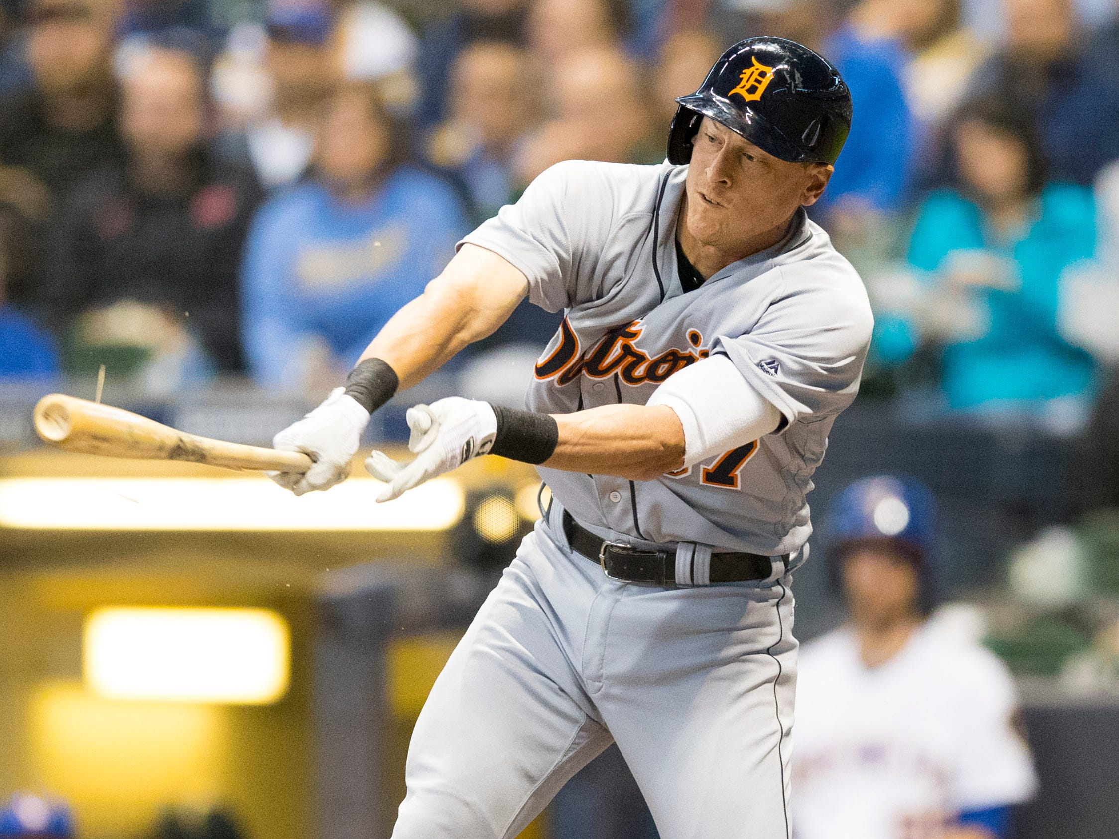 Detroit Tigers first baseman Jim Adduci hits an RBI single during the first inning against the Milwaukee Brewers at Miller Park, Sept. 28, 2018, in Milwaukee.