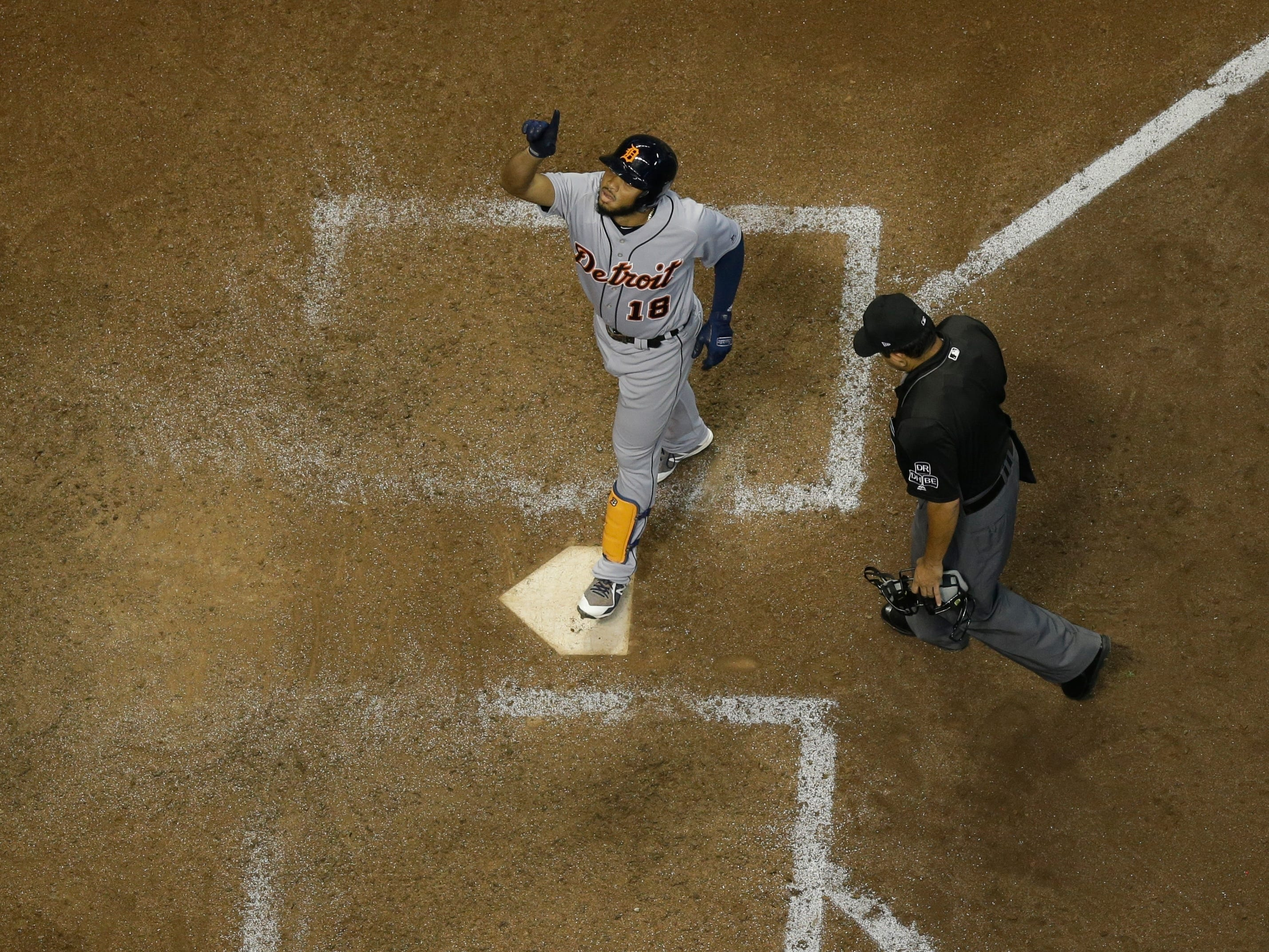 Detroit Tigers' Dawel Lugo after hitting a two-run home run during the eighth inning against the Milwaukee Brewers, Friday, Sept. 28, 2018, in Milwaukee.