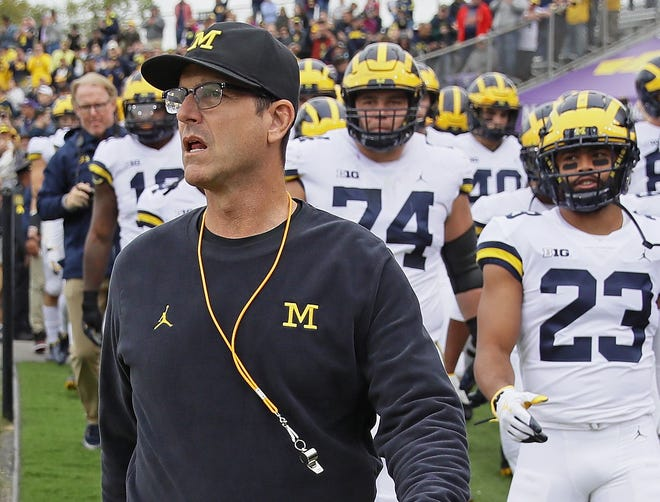 Jim Harbaugh and Michigan will play Florida on Saturday in the Peach Bowl.