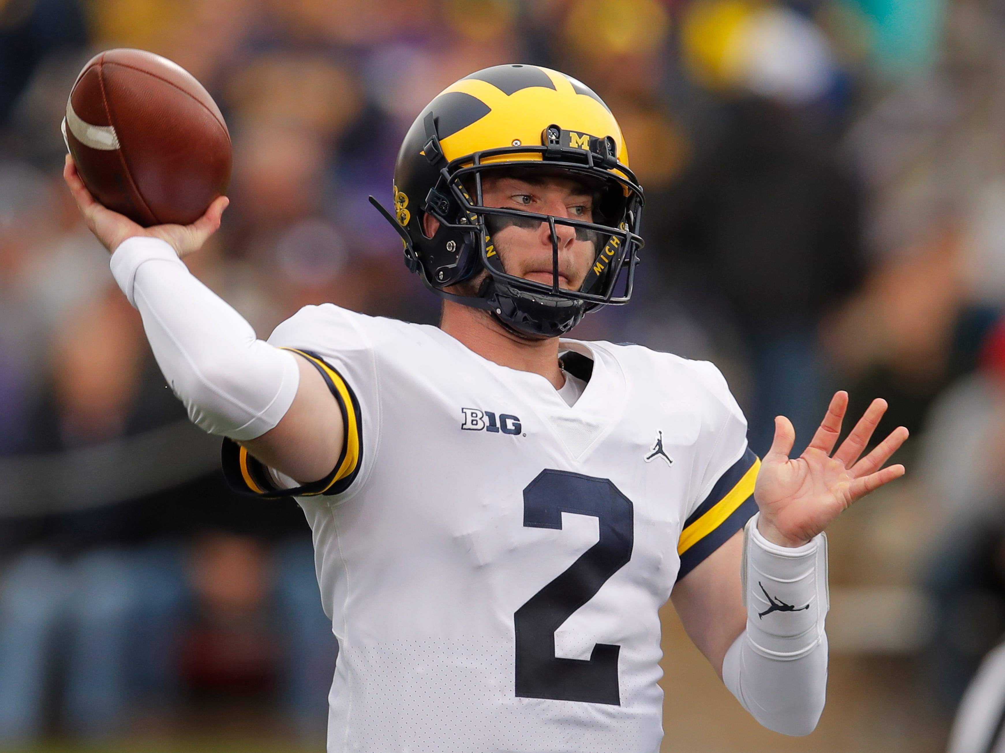 Michigan's Shea Patterson passes against Northwestern during the first half Saturday, Sept. 29, 2018, in Evanston, Ill.