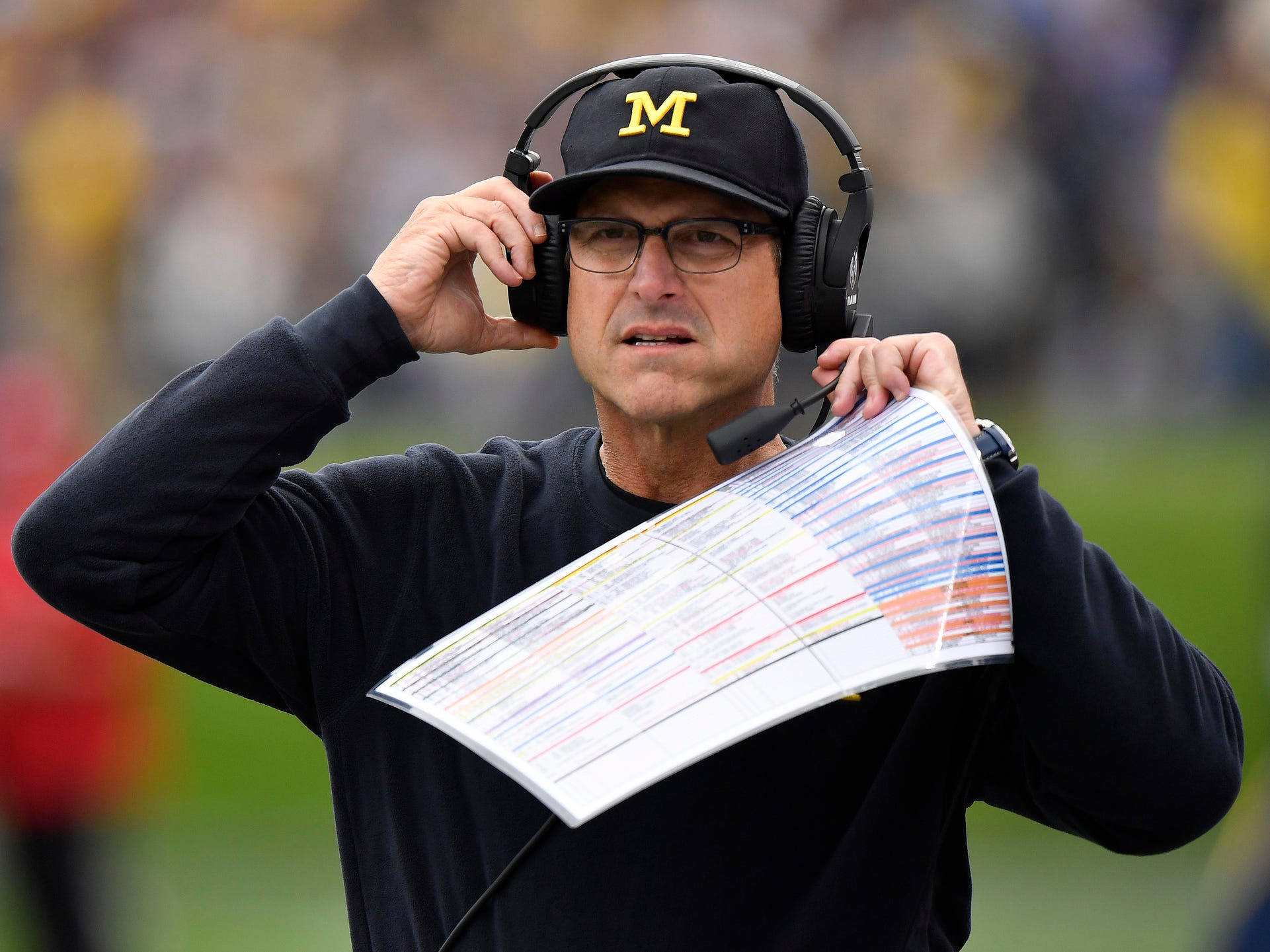 Michigan coach Jim Harbaugh during the game against Northwestern at Ryan Field on Sept. 29, 2018 in Evanston, Ill.