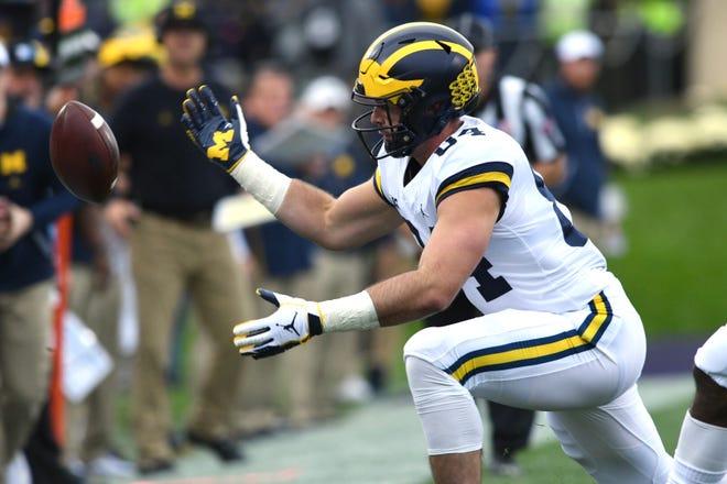 Michigan's Sean McKeon drops a pass in the first quarter Saturday.