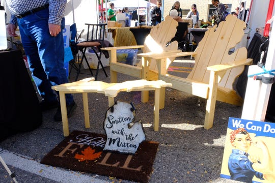 Patio lawn chairs and UP table given away in a contest from the Chamber of Commerce.