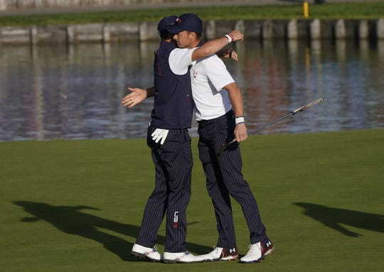 One bright spot for the United States: The team of Jordan Spieth, right, and Justin Thomas.