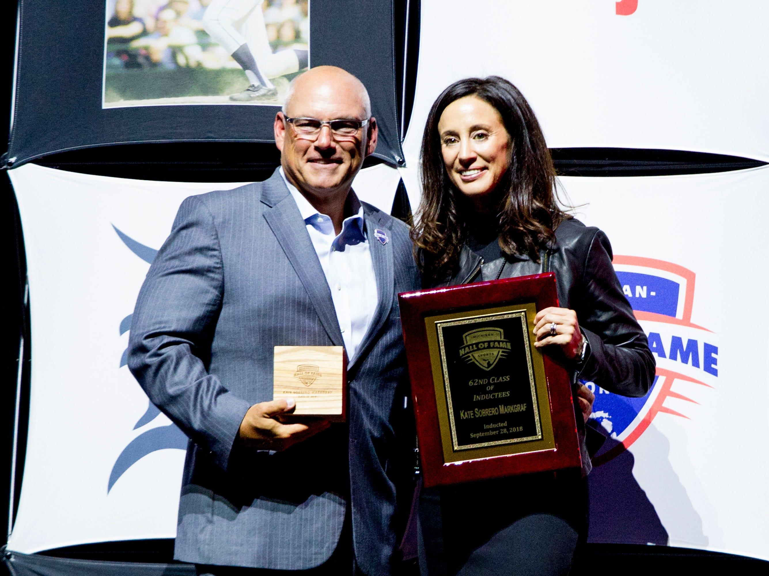 Soccer great Kate Sobrero Markgraf  receives her award.