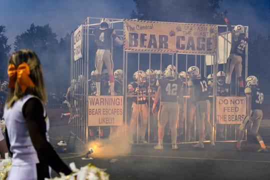 The Central Bears prepare to rush the field before taking on the Memorial Tigers at Central Stadium in Evansville, Ind., Friday, Sept. 28, 2018. The Tigers defeated the Bears, 47-27, to continue on with a 7-0 record.