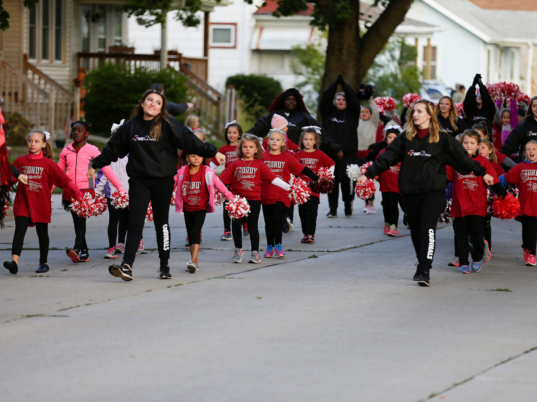 The Fondy Dance team marched in the Fond du Lac High School football homecoming parade Friday, Sept. 28, 2018, which went down portions of Martin Avenue and Ninth Street in Fond du Lac, Wisconsin.