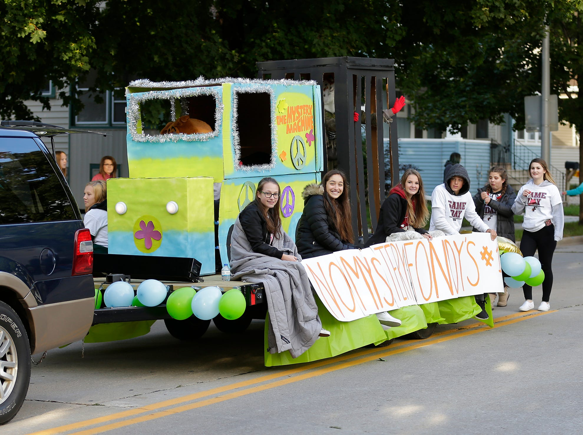 The Fond du Lac High School class of 2021 rode in the Fond du Lac High School football homecoming parade Friday, Sept. 28, 2018, which went down portions of Martin Avenue and Ninth Street in Fond du Lac, Wisconsin.