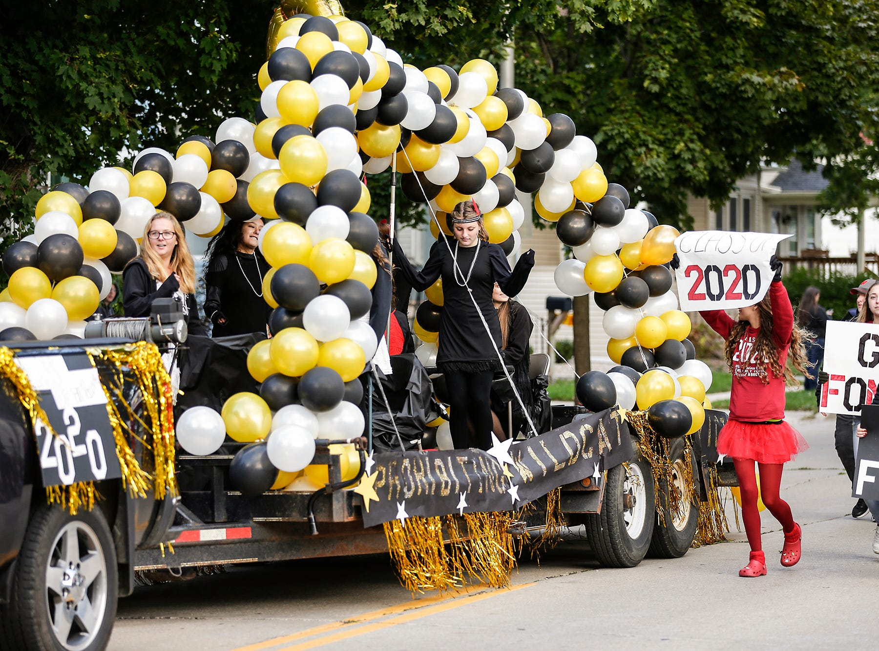 The Fond du Lac class of 2020 designed their float to have a 1920s theme for their football homecoming parade Friday, Sept. 28, 2018, which went down portions of Martin Avenue and Ninth Street in Fond du Lac, Wisconsin.