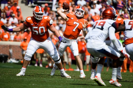 Clemson quarterback Chase Brice (7) throws the ball during their game against Syracuse at Clemson's Memorial Stadium on Saturday, Sept. 29, 2018