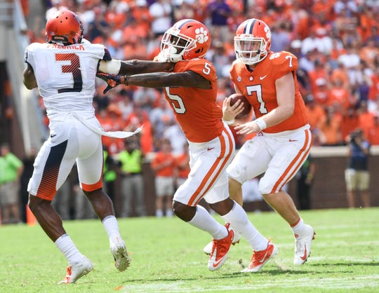 Clemson quarterback Chase Brice (7) runs for a first down during the fourth quarter in Memorial Stadium on Saturday, September 29, 2018.