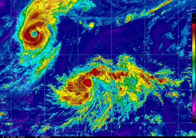 Guam and Rota remain in tropical storm watch as the National Weather Service continues tracking a recently upgraded tropical storm.