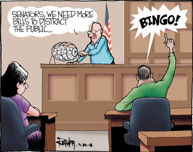 Sunday cartoon on bingo, gambling taxes for 093018
