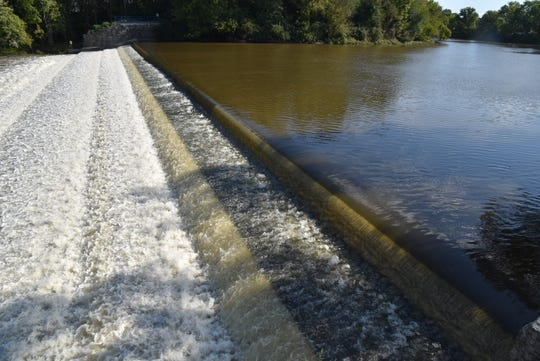 A view of the roller dam on the White River near Broad Ripple.