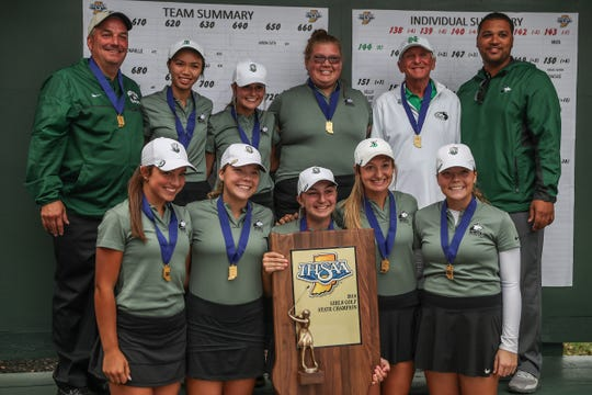 The Evansville North Huskies finished first place overall, earning their fourth championship in five years at IHSAA girls state golf finals at Prairie View Golf Club in Carmel, Ind., Saturday, Sept. 29, 2018.