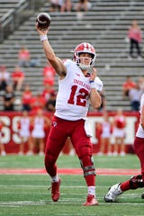 Peyton Ramsey #12 of the Indiana Hoosiers passes during the fourth quarter against the Rutgers Scarlet Knights at HighPoint.com Stadium on September 29, 2018 in Piscataway, New Jersey. Indiana won 24-17.