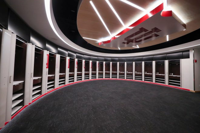 BLOOMINGTON, IN - SEPTEMBER 27, 2018 - Roberts Family Indiana Basketball Team Center. Included in its more than 4,000-square feet of space are the Andy Mohr Locker Room; the Oladipo Zeller Legacy Lounge; the Tim Garl Athletic Training Room; and the Basketball Coaches annex.