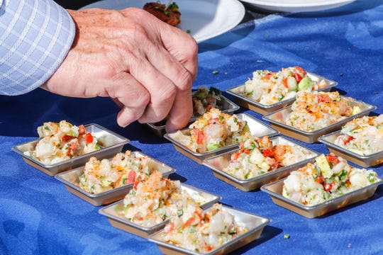 Ceviche is served at the Blue Sushi Saki Grill during the IndyStar Wine & Food Experience, held at Clay Terrace Mall in Carmel Ind., on Saturday, Sept. 29, 2018.