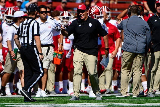 Coach Tom Allen of the Indiana Hoosiers challenges a call against the Rutgers Scarlet Knights during the first quarter at HighPoint.com Stadium on September 29, 2018 in Piscataway, New Jersey.