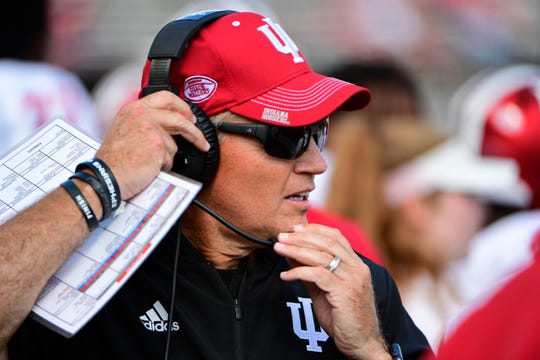 Coach Tom Allen of the Indiana Hoosiers adjusts his headset during the third quarter against the Rutgers Scarlet Knights at HighPoint.com Stadium on September 29, 2018 in Piscataway, New Jersey. Indiana won 24-17.
