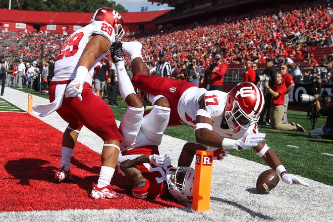 Indiana Hoosiers defensive back Raheem Layne (17) breaks up a pass intended for Rutgers Scarlet Knights wide receiver Shameen Jones (15) during the first half at High Point Solutions Stadium.