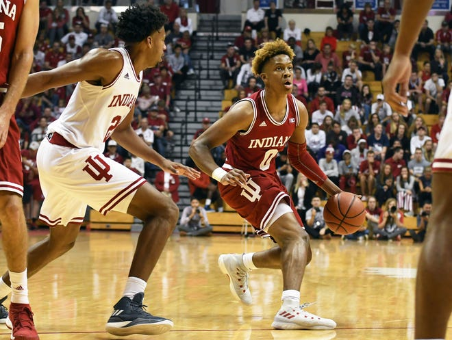 Indiana Hoosiers guard Romeo Langford (0) dribbles the ball during the scrimmage at Hoosier Hysteria at Simon Skjodt Assembly Hall in Bloomington, Ind., on Saturday, Sept. 29, 2018.
