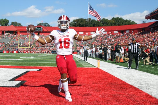 Indiana Hoosiers defensive back Jamar Johnson (16) celebrates his interception during the first half of their game against the Rutgers Scarlet Knights at High Point Solutions Stadium.