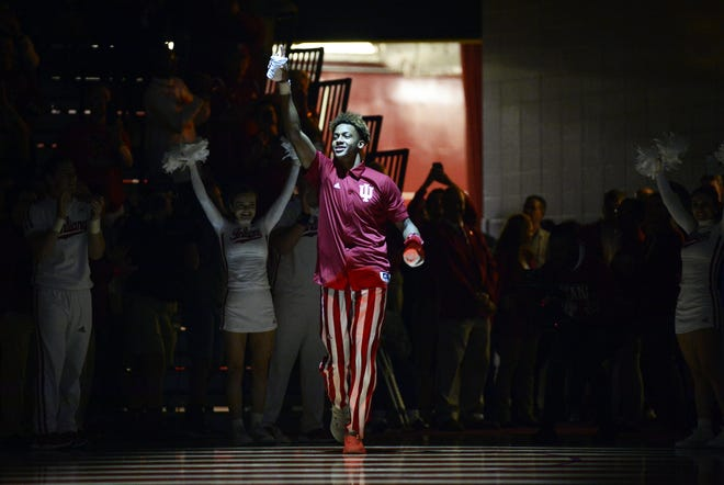 Indiana Hoosiers guard Romeo Langford (0) is introduced during Hoosier Hysteria at Simon Skjodt Assembly Hall in Bloomington, Ind., on Saturday, Sept. 29, 2018.