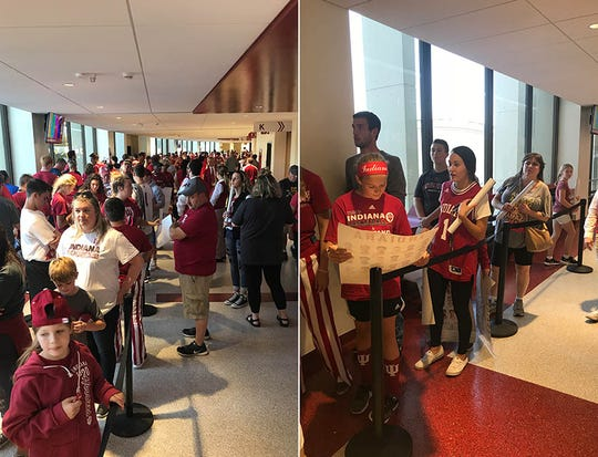 The line on the left is IU fans waiting for Romeo Langford's autograph at Hoosier Hysteria. The line on the right, isn't.