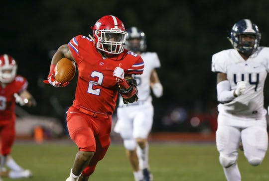 Jackson Prep's Jerrion Ealy (2) breaks free for his second touchdown of the night. Jackson Prep and Jackson Academy played in an MAIS football game on Friday, Sept. 28, 2018 at Jackson Prep. Photo by Keith Warren