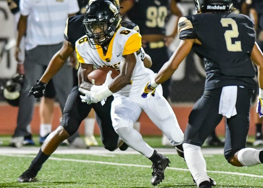 Starkville's Rufus Harvey (6) looks for yards after the catch against Northwest Rankin during game action Friday September 28th, 2018 in Flowood, MS (Bob Smith/For the Clarion Ledger)
