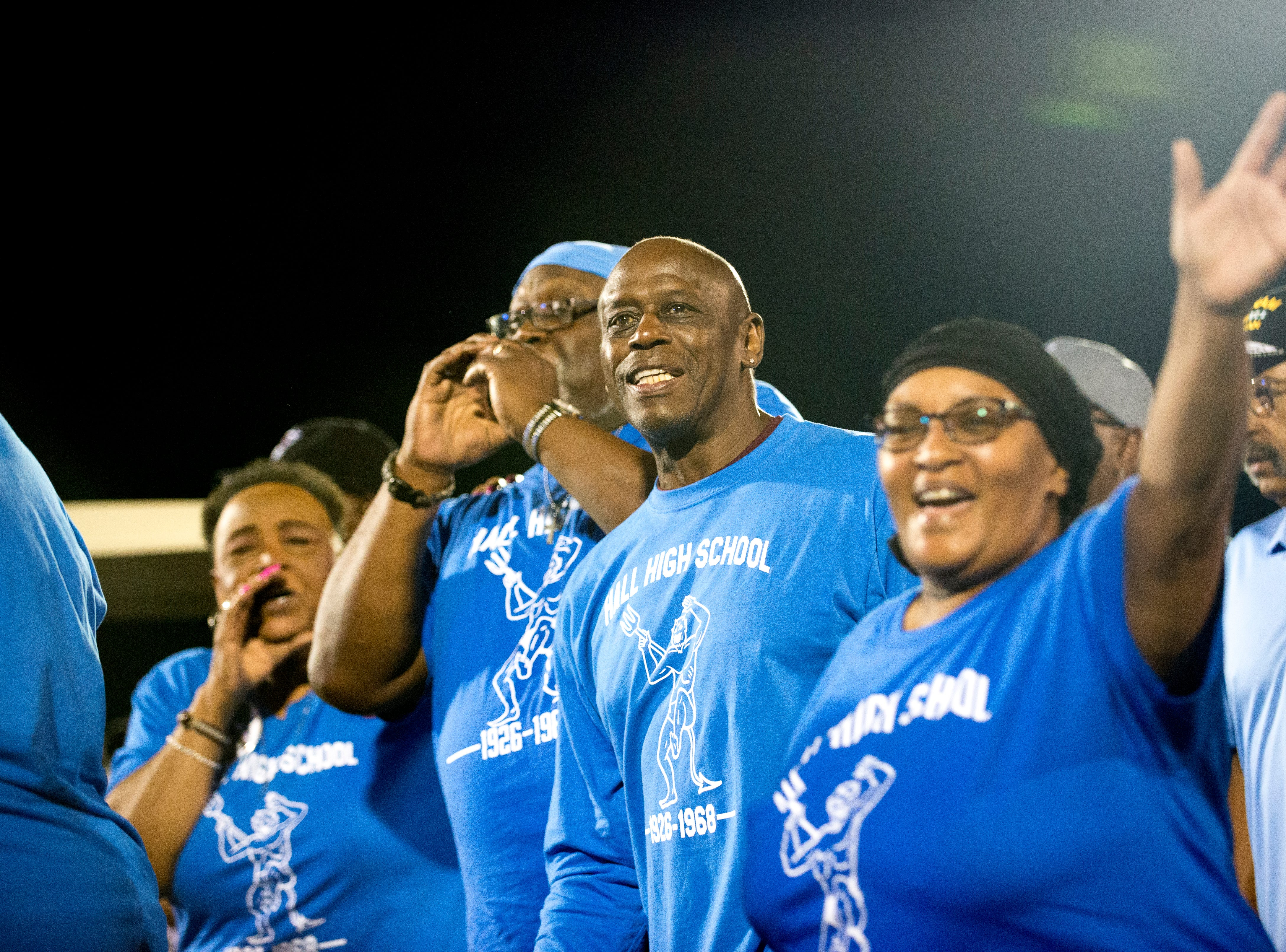 Hall High School alumni are honored during a halftime celebration during a football game between Alcoa and Northview at Alcoa High School in Alcoa, Tennessee on Friday, September 28, 2018. Alcoa played in historic reproduction Hall High School jersey's, modeled after the former all-black high school's jersey's.