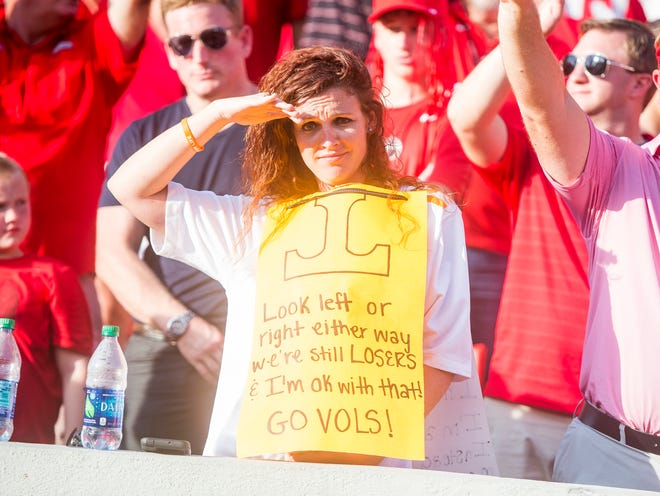 A Tennessee fan during the Tennessee Volunteers' game against Georgia in Sanford Stadium in Athens, Ga., on Saturday, Sept. 29, 2018.