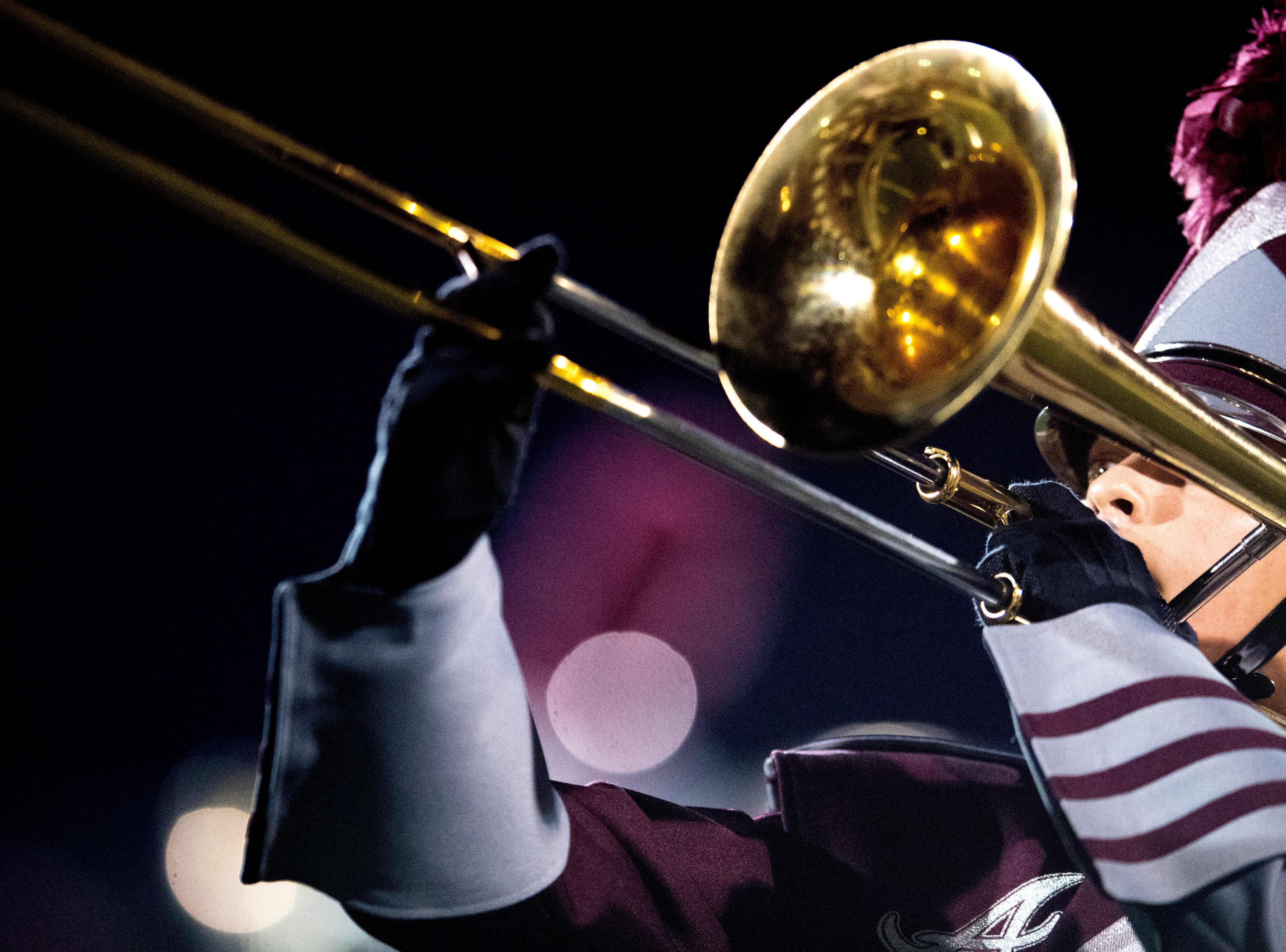 The Alcoa Marching Band performs during a football game between Alcoa and Northview at Alcoa High School in Alcoa, Tennessee on Friday, September 28, 2018. Alcoa played in historic reproduction jerseys modeled after the former all-black Hall High School in Alcoa.