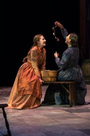 "Emily Cullum, left, as Mary, and Brenda Orellana as Grace in ""Alias Grace"" at the University of Tennessee Carousel Theatre."