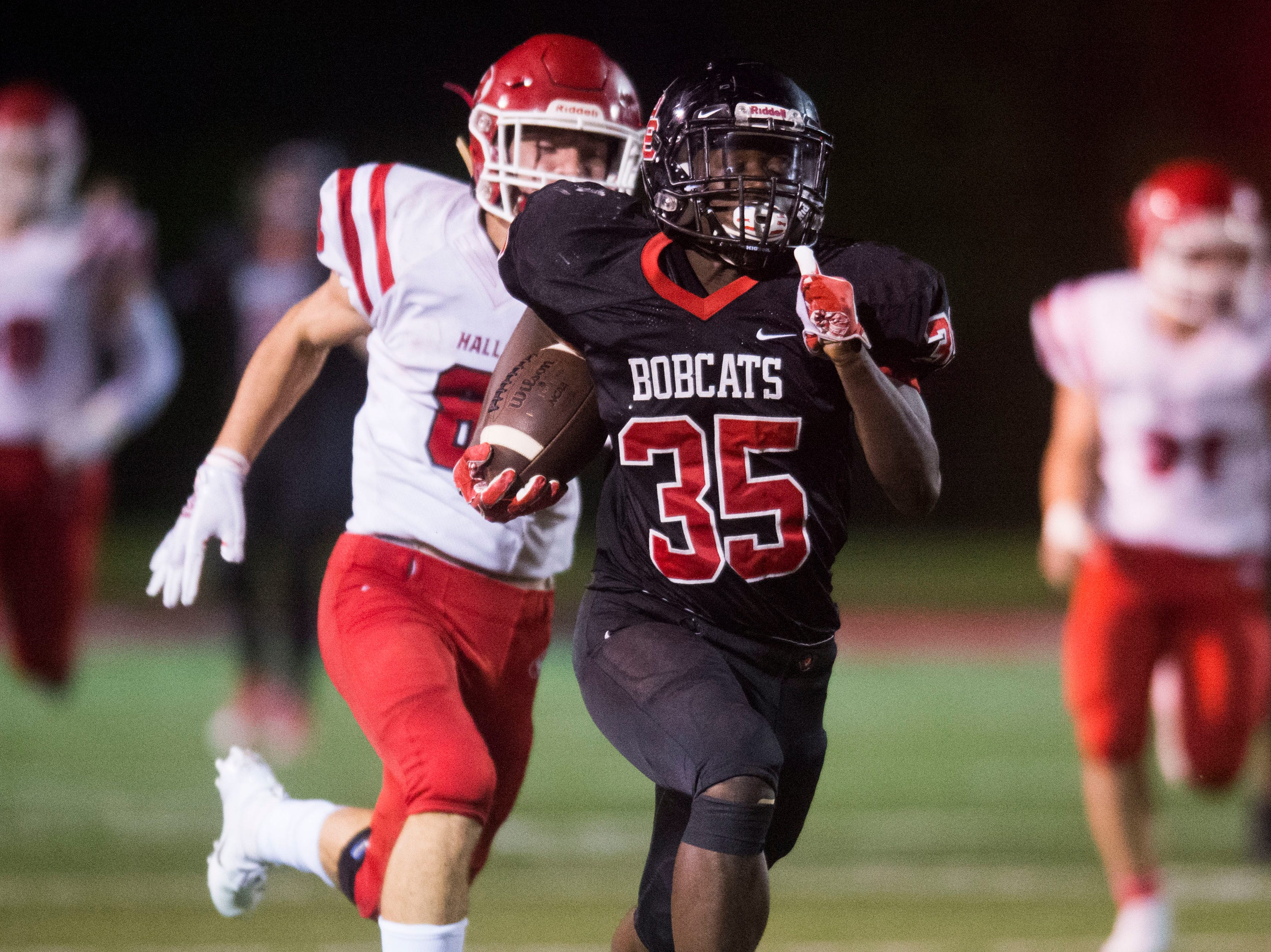 Central's Jason Merritts (35) sprints down the field during a high school football game between Central and Halls at Central Friday, Sept. 28, 2018. Central won 49-17.