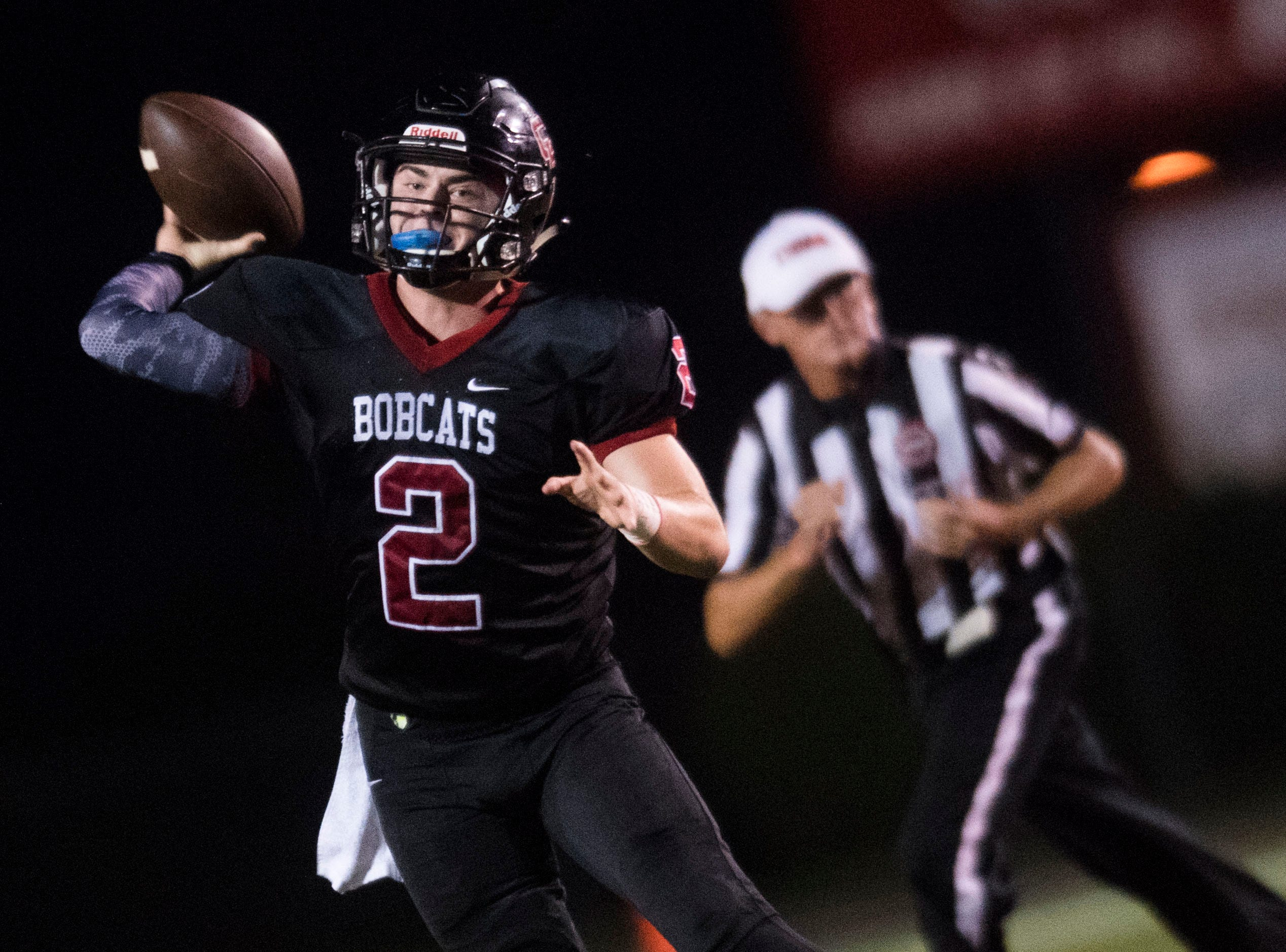 Central's Dakota Fawver (2), prepares to throw the ball during a high school football game between Central and Halls at Central Friday, Sept. 28, 2018. Central won 49-17.