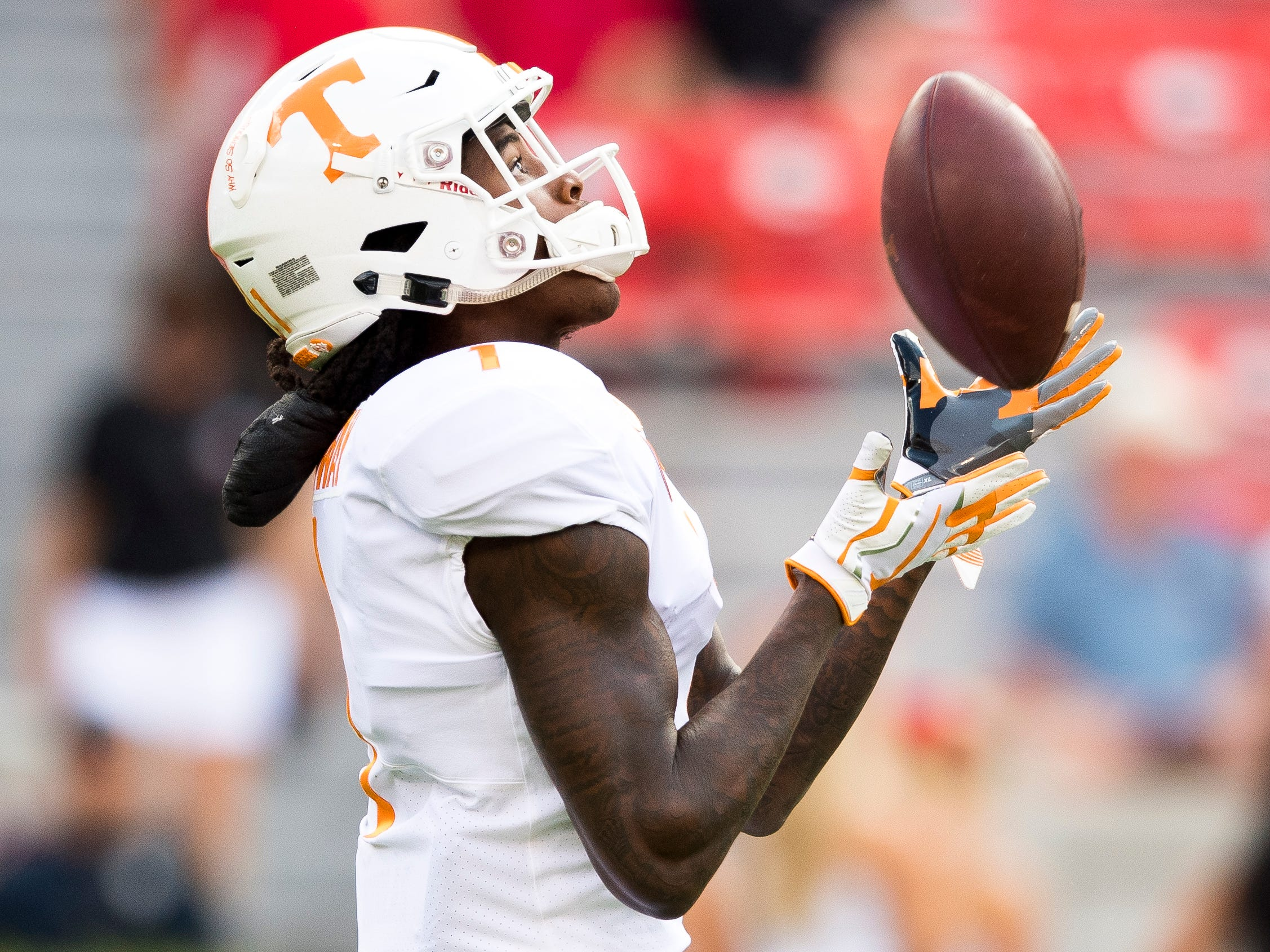 Tennessee wide receiver Marquez Callaway (1) makes a catch during warmups before the Tennessee Volunteers' game against Georgia in Sanford Stadium in Athens, Ga., on Saturday, Sept. 29, 2018.