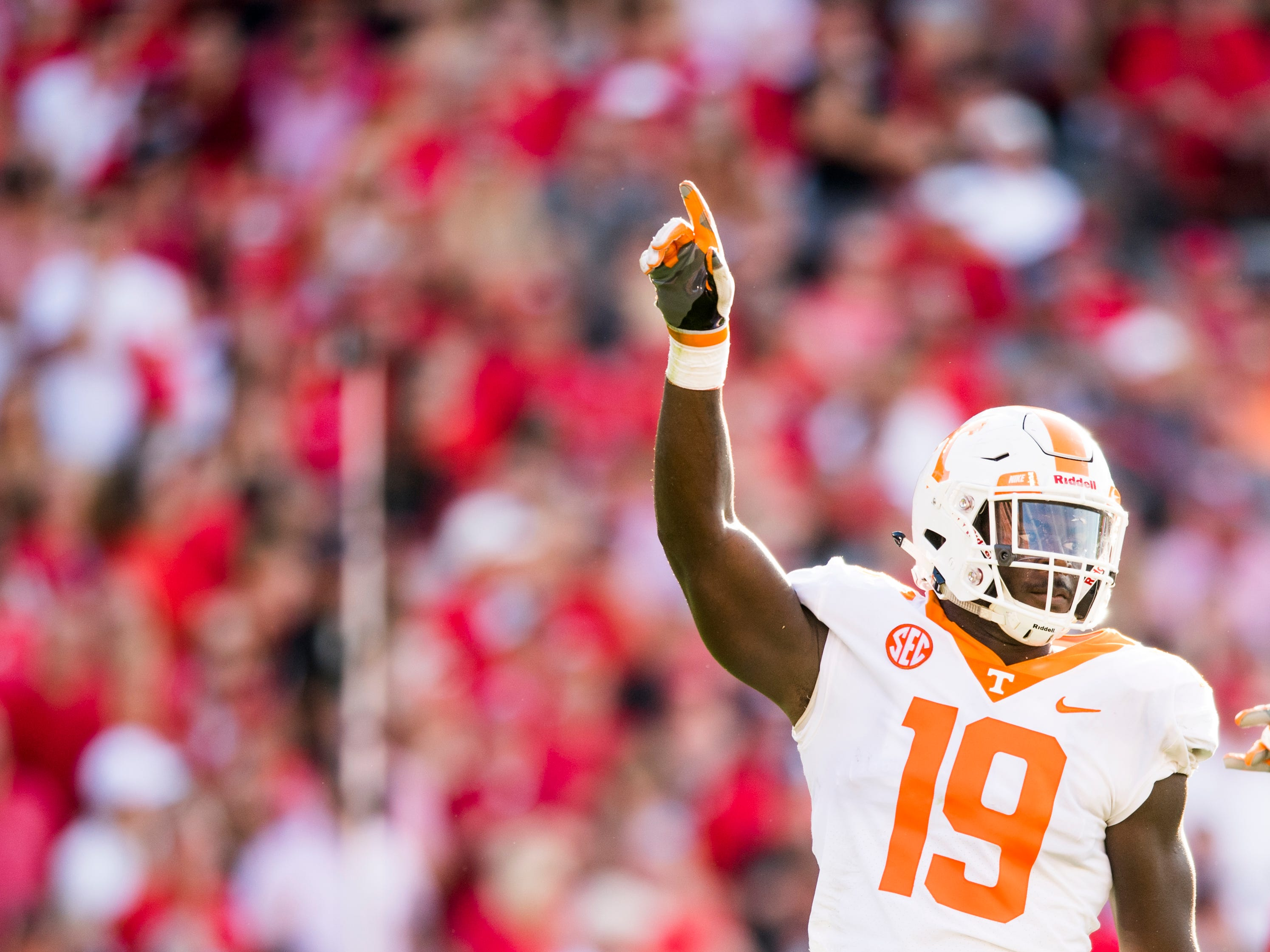 Tennessee linebacker Darrell Taylor (19) celebrates his sack during the Tennessee Volunteers' game against Georgia in Sanford Stadium in Athens, Ga., on Saturday, Sept. 29, 2018.