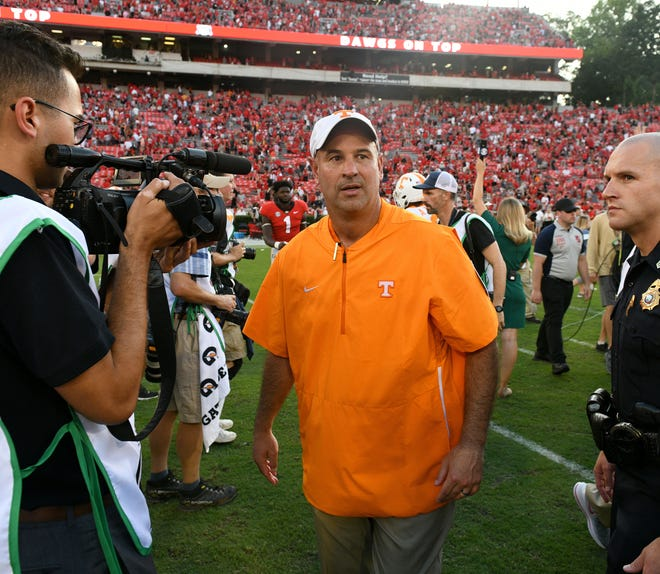 Tennessee Head Coach Jeremy Pruitt leaves the field following their 38-12 loss to Georgia Saturday, September 29, 2018 at Sanford Stadium in Athens, GA.