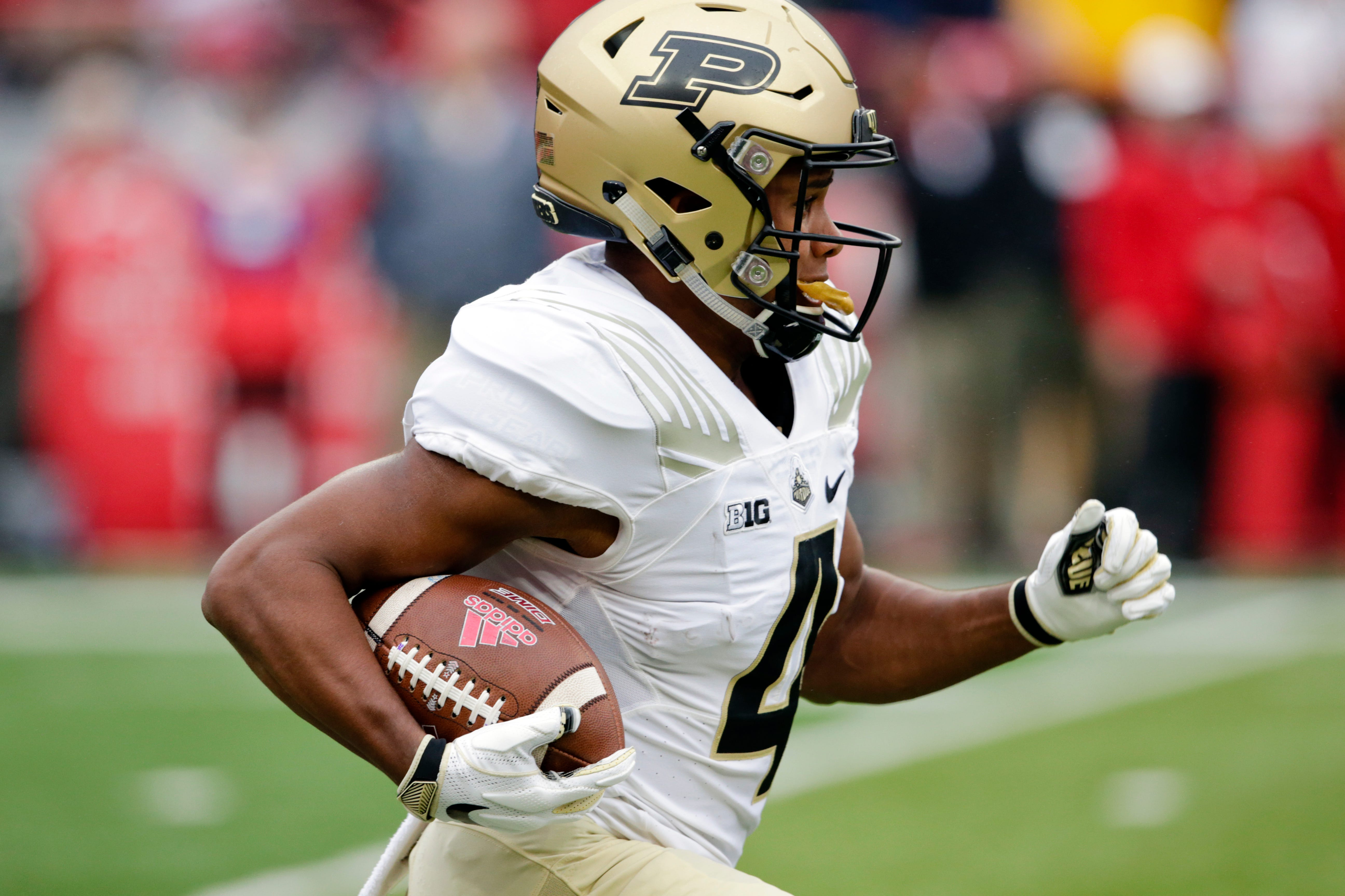 Purdue wide receiver Rondale Moore returns a kick during the first half against Nebraska.
