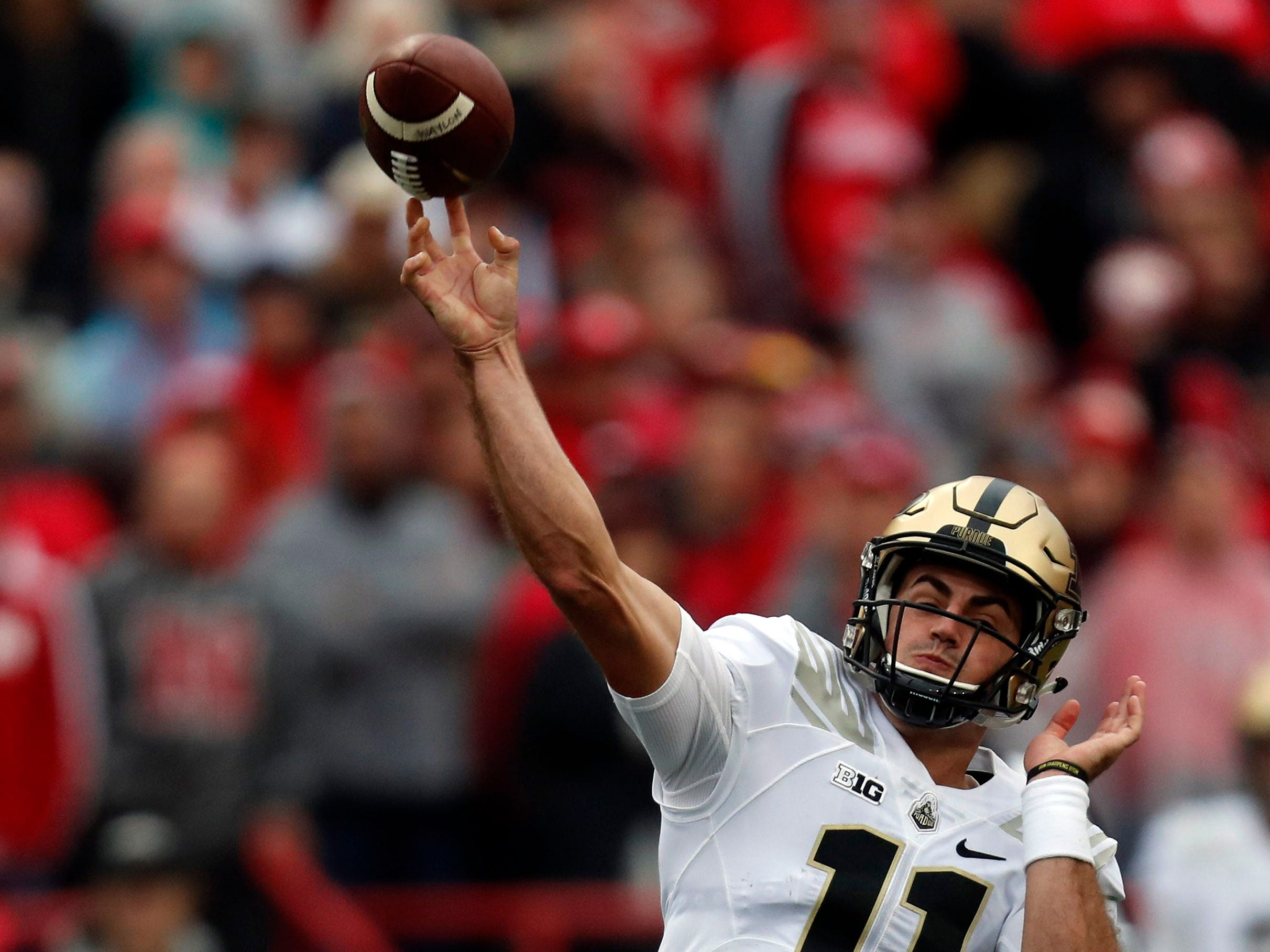 Sep 29, 2018; Lincoln, NE, USA; Purdue Boilermakers quarterback David Blough (11) throws against the Nebraska Cornhuskers in the first half at Memorial Stadium. Mandatory Credit: Bruce Thorson-USA TODAY Sports