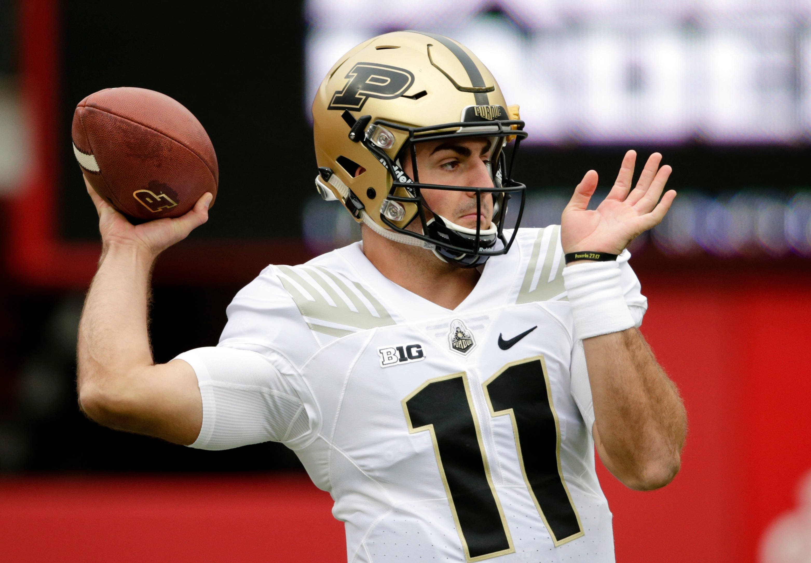 Purdue quarterback David Blough (11) warms up before an NCAA college football game against Nebraska in Lincoln, Neb., Saturday, Sept. 29, 2018. (AP Photo/Nati Harnik)