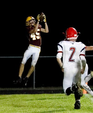 Berne Union senior wide receiver Kolt Colbertson catches one of his three touchdown receptions against Fairfield Christian. The Rockets (5-1) travel to Harvest Prep on Friday for a huge Mid-State League-Cardinal Division game.