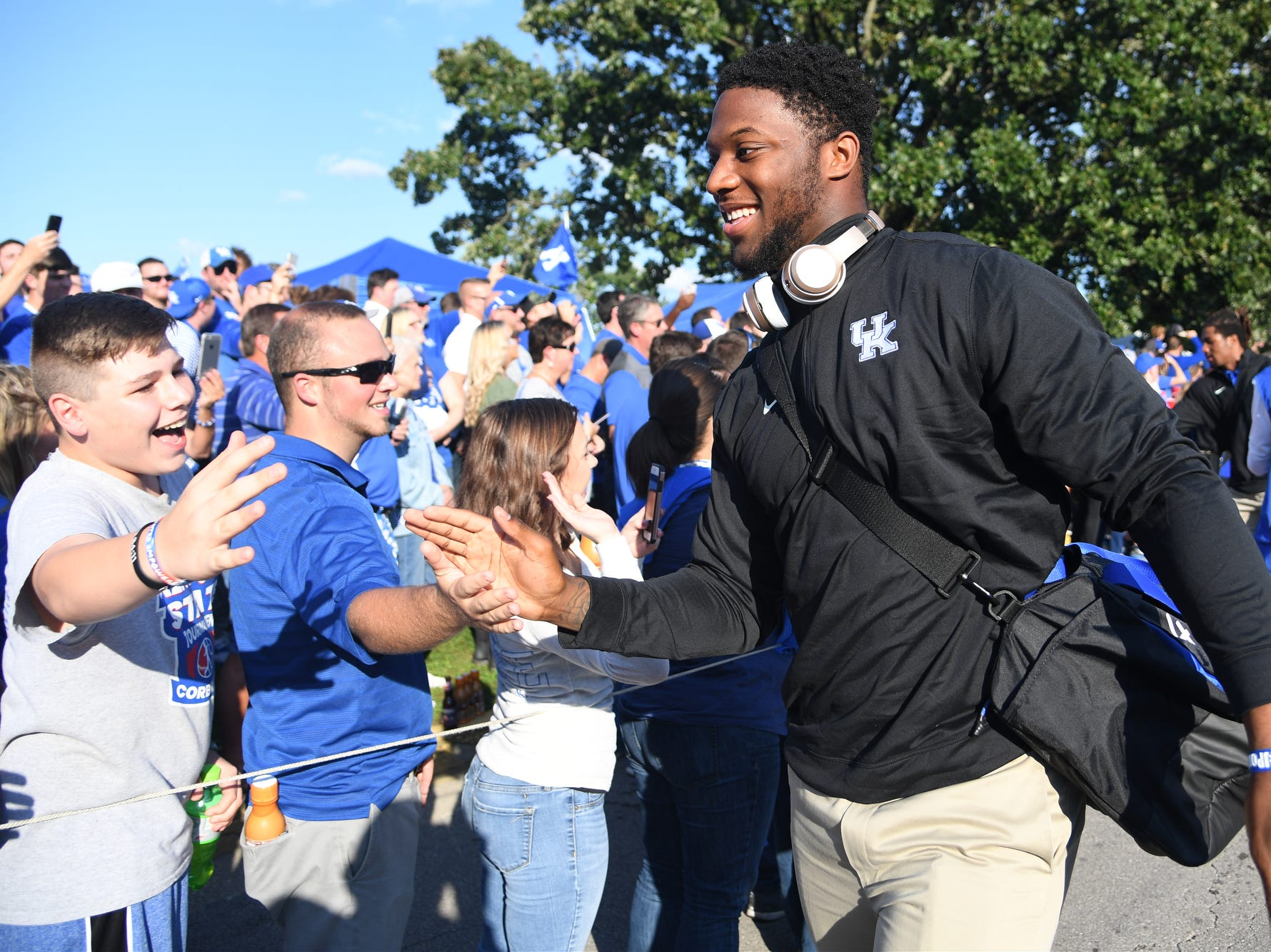 UK DE Josh Allen during the Cat Walk before the University of Kentucky football game against South Carolina at Kroger Field in Lexington, Kentucky on Saturday, September 29, 2018.