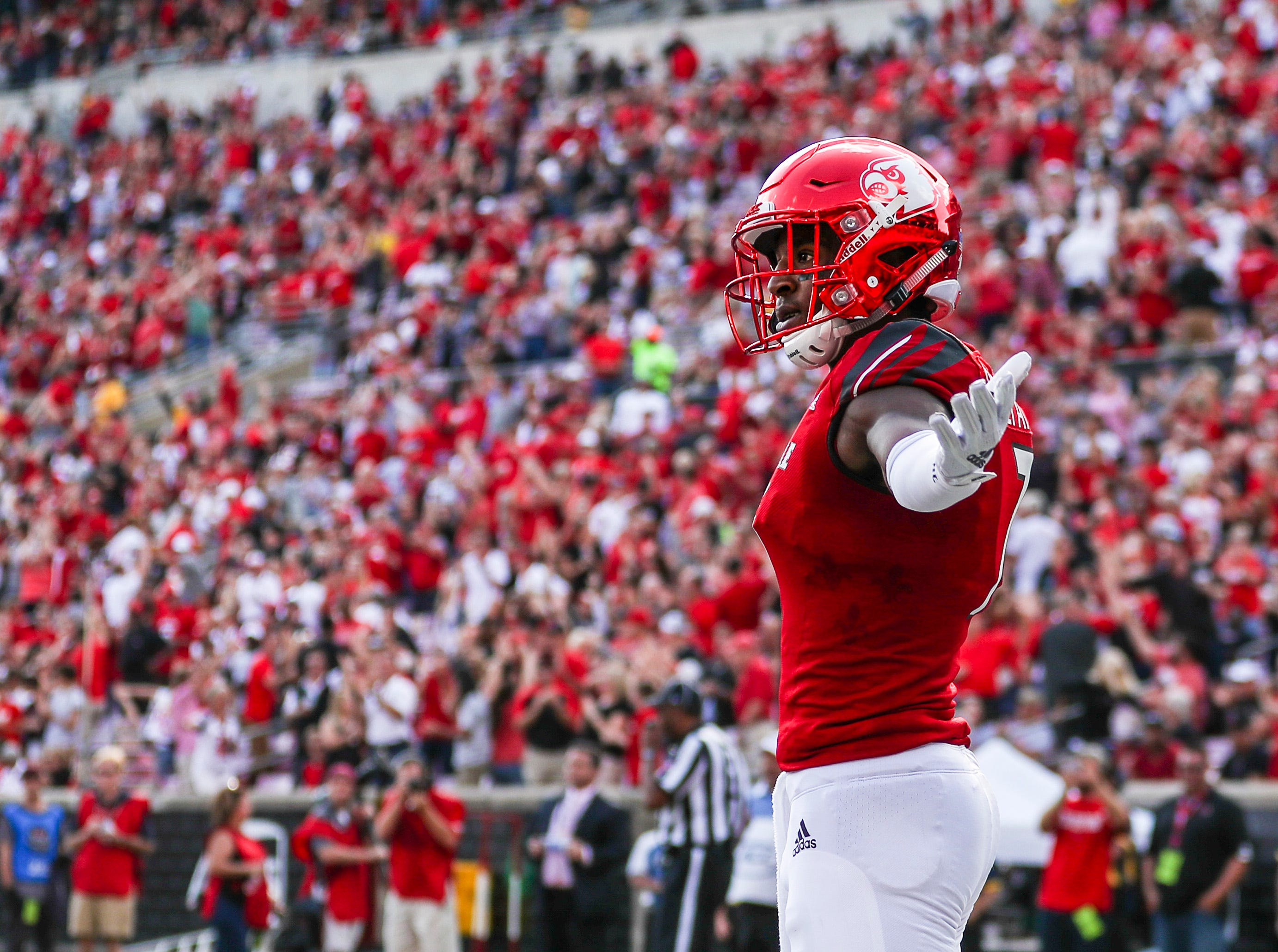 Louisville's Dez Fitzpatrick celebrates after making the late second-quarter catch to put the Cards up over Florida State 21-7 at the half Saturday afternoon. Sept. 29, 2018