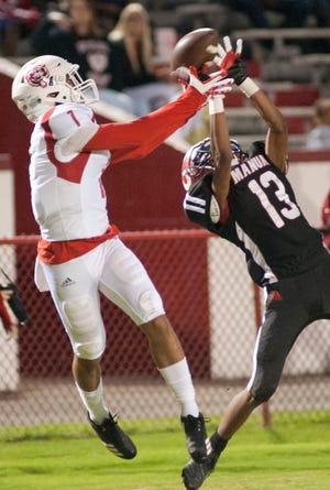 Manual defensive back Darius Brown breaks up a pass intended for Butler wide receiver Jordan Watkins. September 28, 2018