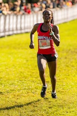 "The University of Louisville's Dorcas Wasike wins the college women's 5K gold race at the Louisville Cross Country Classic at E.P. ""Tom"" Sawyer Park in Louisville, Kentucky, on Saturday, Sept. 29, 2018."